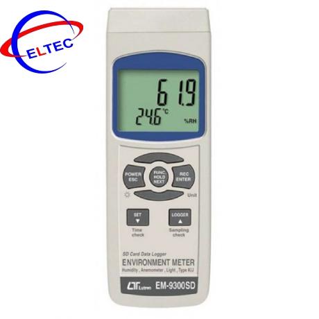 Thiết bị đo tốc độ gió, ánh sáng, nhiệt độ, độ ẩm môi trường (4 in 1) EM-9300SD