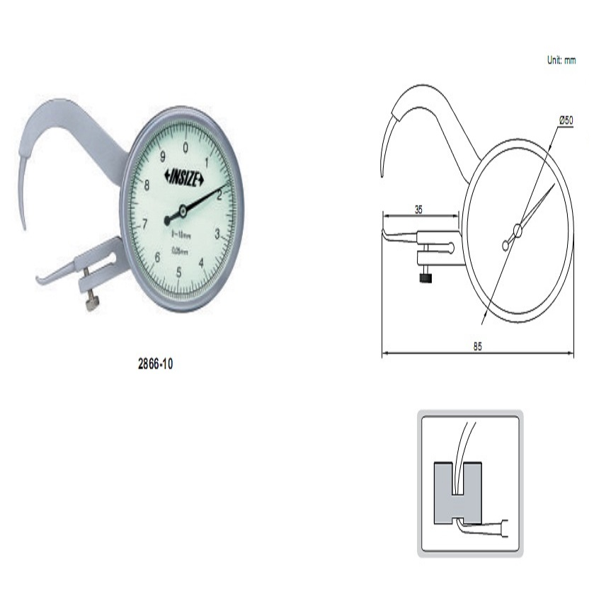 Đồng hồ đo độ dày với đầu nhọn Insize 2866-10