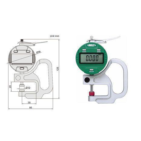 Đồng hồ đo độ dày vật liệu điện tử Insize 2871-10, 0-10mm/0.0005